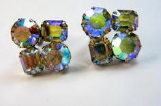 Vintage Weiss AB Rhinestone Earrings Chunky by EclecticVintager