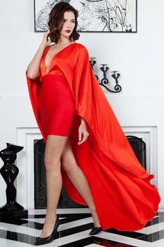 Red Cape Bodycon Dress