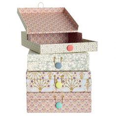 House Doctor 2er Set Dokumenten Box Chenny hellblau