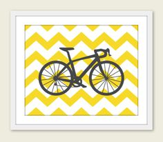 Bike Chevron Nursery Wall Art Print Modern Home Decor by AldariArt