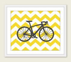 Bike Chevron Nursery Wall Art Print Modern Home Decor by AldariArt