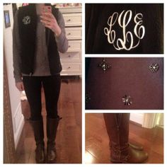 OOTD 12/6/13School…Shirt-J.CrewBlack Fleece Monogramed Vest-Marley LillyLeggings-Forever 21Boots-Guess