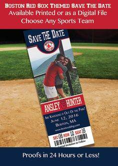 Boston Red Sox Themed Save the Date by IrresistibleInvites1
