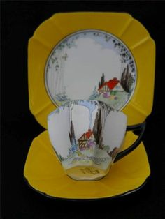 Rare Shelley Hand Painted Queen Anne ART Deco Trio Cottage 1 Pattern 11604 | eBay...FABULOUS!