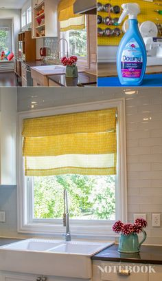 DIY video tutorial for no sew faux roman shades. You'll want to spray some Downy Wrinkle Releaser Plus on your curtain when you're done to help it hang, wrinkle free. It's unique formula relaxes the fabric fibers, helping to release wrinkles. Plus it smells great!
