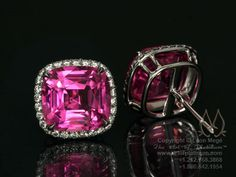 Pink sapphire earrings by Leon Mege
