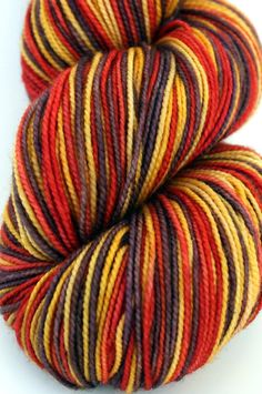 "Self Striping Sock Yarn, Superwash Merino and Nylon Fingering Weight, in ""Indian Corn"" by LadybugFiber on @Etsy"