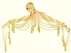 The Golden Pearls by Erte (Romain De Tirtoff) (1892-1990, Russia)