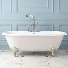 The beauty in simplicity  Photo via: bhg.com  #interiordesign #beauty #decor #design #decorating #bathroom #blue #white #bathtub #classic #chic #style #luxury #beautiful #simple #luxuryliving