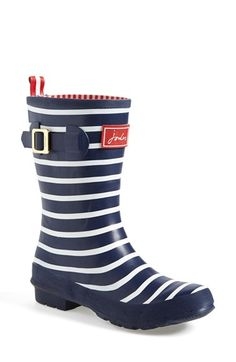 Joules 'Molly' Rain Boot (Women) available at #Nordstrom.   The blue & white polka dot with red soles!!  Too cute