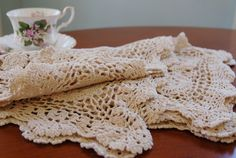 Four Crocheted Place Mats, Ecru Cotton Crocheted Placemat Set of 4, Shabby Chic Table Linens, Cottage, French Country - SOLD! :)