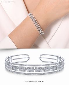 White Gold Round and Baguette Diamond Cuff Bracelet Diamond Necklace Set, Diamond Bracelets, Gold Bangles, Bangle Bracelets, Diamond Rings, Gold Rings Jewelry, Hand Jewelry, Jewelery, Cute Engagement Rings