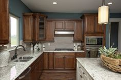 backsplash ideas for dark cabinets | tile backsplash.....dark cabinets light counter tops darker floors ...