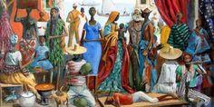 HECTOR BERNABO ', ALIAS CARIBE' (1911/1997), BRAZILIAN PAINTER – Painting black Bahian women and mulatto – Meeting Benches