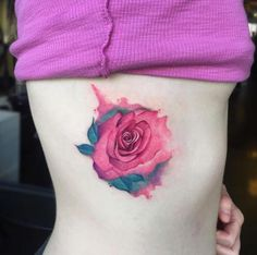 Pink Watercolor Rose Tattoo by June Jung