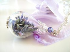 Lavender Flower Necklace, Real Dried Purple Blue Lavender Flowers, Real Flower Jewelry, Globe Necklace, Christmas Gift