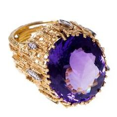 Andrew Grima - yellow gold textured wires ring with Amethyst and diamonds. Amethyst And Diamond Ring, Amethyst Jewelry, Gold Diamond Rings, Gold Ring, Sapphire, Cute Jewelry, Jewelry Rings, Jewelery, Polka Dot Rings