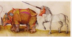 Rhino and a Unicorn from Medieval Manuscript Das Tierbuch des Petrus Candidus (Animal Book, Medieval Manuscript, Medieval Art, Illuminated Manuscript, Book Images, Art Images, Illustrations, Illustration Art, Mythological Animals, Sphinx