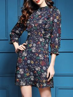 Navy Floral Ruffle Shift Dress