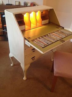 Vintage Shabby Chic Writing Bureau...lights