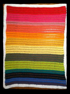Rainbow 100 Cotton Crocheted Blanket by peacelovecreations on Etsy, $60.00