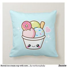 Kawaii ice cream cup with cute donut throw pillow Custom Pillows, Decorative Throw Pillows, Donut Ice Cream, Colorful Ice Cream, Cute Donuts, Light Blue Background, Blue Pillows, Cute Food, Free Sewing