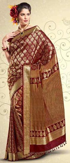 Deep Maroon Pure Brocade Silk Saree with Blouse    Itemcode: SKL1248    Price: US$ 220.91    Click @ http://www.utsavfashion.com/store/sarees-large.aspx?icode=skl1248