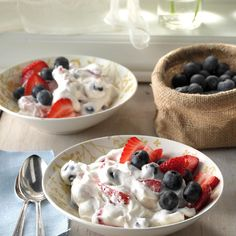 This fluffy salad is a welcome treat on warm Texas afternoons. Because there's a blueberry orchard n. - Provided by Taste of Home (use Swerve instead of sugar) Potluck Recipes, Salad Recipes, Dessert Recipes, Cooking Recipes, Potluck Ideas, Potluck Dishes, Dishes Recipes, Party Recipes, Fruit Recipes