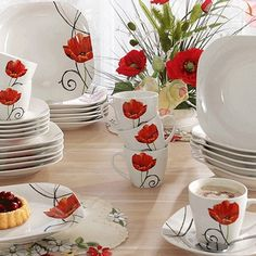 Poppies table set