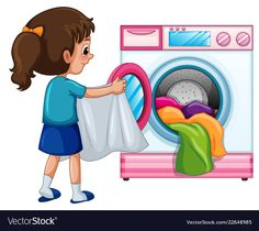 Young girl doing laundry Royalty Free Vector Image , Cute Cartoon Wallpapers, Cartoon Pics, Teaching Kids, Kids Learning, Action Pictures, Flashcards For Kids, Action Cards, Islamic Cartoon, School Labels