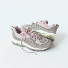 buy popular 7ec44 3416a Air Max 98 silhouette Mesh upper Leather overlays piping Rope laces  Embroidered Swoosh on toe box and side panel Heel pulls Rubber midsole  Visible Air sole ...