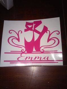 Ballet shoes personalized car decal by LastRayzDesigns on Etsy