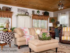 Country Sampler Magazine, Primitive Living Room, Family Room Decorating, Decorating Ideas, Country Farmhouse Decor, Country Living, Pretty Room, Window Treatments, Valance Curtains