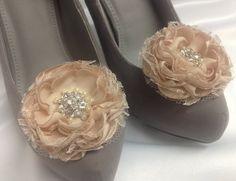 Champagner Hochzeit Blume Schuhclips / von RossyAccesorios auf Etsy