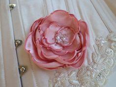bridal hair flower pink satin rose pearls beaded seed beads hair clip hair piece wedding hair style accessory romantic
