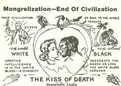 """c. 1962-65 - A postcard featuring caricatures of a black man and white woman about to kiss with the warning: """"SEGREGATE THE NEGRO OR LOSE THE WHITE BLOOD FOREVER"""". Issued by """"Statecraft"""" in Alexandria, Va."""