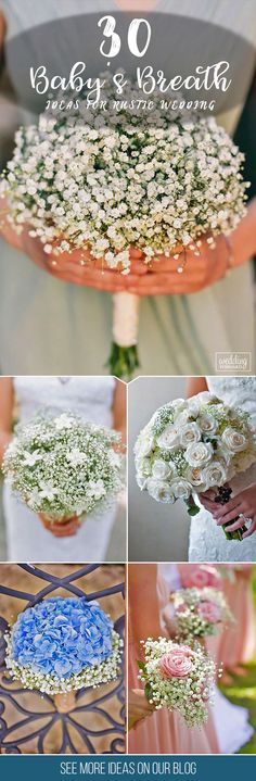 30 Baby's Breath Wedding Ideas For Rustic Weddings ❤ These small white and blush buds will add a fragrant smell and an airy aesthetic to your celebration. See our gallery of baby's breath wedding ideas! See more: http://www.weddingforward.com/babys-breath-wedding-ideas/  #wedding #bouquets