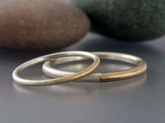 Married 14k Gold and Sterling Silver Wedding Band Set - Two Tone Wedding Rings