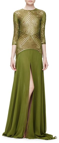 Naeem Khan 3/4-Sleeve Geometric-Sequin Gown, Olive