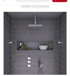 i like the shape – horizontal and roomy – of this shower niche … Ich mag die Form – horizontal und geräumig – dieser Duschnische Mehr Grey Bathroom Tiles, Bathroom Renos, Grey Bathrooms, Laundry In Bathroom, Basement Bathroom, Beautiful Bathrooms, Master Bathroom, Bathroom Ideas, Bathroom Niche