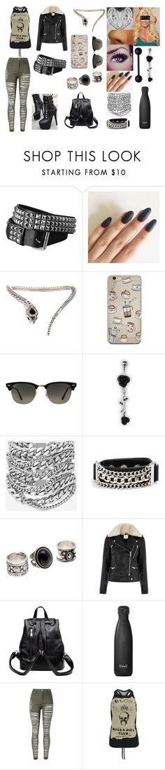 """""""Untitled #721"""" by cassidyoloughlin ❤ liked on Polyvore featuring Hot Topic, Roberto Cavalli, Ray-Ban, Yves Saint Laurent, GUESS, Warehouse, S'well, WithChic and Religion Clothing"""