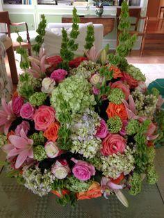 Pink and orange flowers wedding palm beach