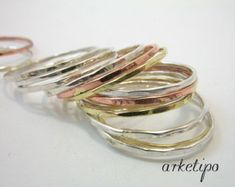 Stacking Rings - Celebrity fashion - Silver Gold Rose Gold Rings - Set of 15 hammered bands - 9 in sterling silver - 3 in brass- 3 in copper