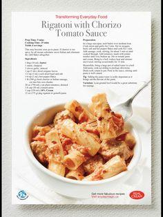 Rigatoni with Chorizo Tomato Sauce