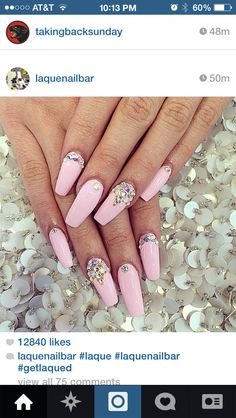 Pink acrylic coffin nails