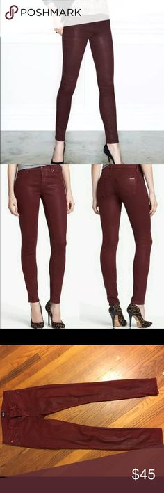 Hudson Krista Maroon-Red Skinny Jeans SZ 25 NEW NEVER WORN New without tags NWOT  Wax coated maroon stretch denim Hudson Jeans Jeans Skinny