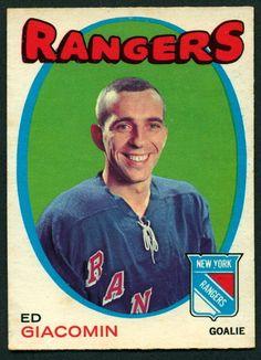 1971 72 Topps 90 ED GIACOMIN NM N Y RANGERS HOCKEY CARD #NewYorkRangers