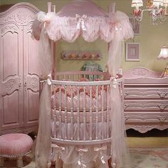 Glamorous Princess Nursery Decorating Ideas With White Iron Round Crib Featuring Pink Chiffon Canopy of Appealing Round Crib Collections 2014 Bedding For Round Cribs Round Crib Mattress Round Baby Crib Designs For A Colorful And Cozy Nursery Baby Bedroom, Nursery Room, Girl Nursery, Girl Room, Baby Rooms, Nursery Themes, Nursery Ideas, Girls Bedroom, Cloud Bedroom