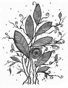 Leaves Pretty Writing, Black And White Theme, Writing Pens, My Doodle, Zentangles, Black And White Photography, Tangled, Painting & Drawing, Artsy