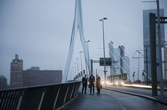 Michel Smit (Energy Floors), Stef van Dongen (Enviu) and Henk Doll (architect) on Erasmusbridge in Rotterdam for Mazda Rebel campaign